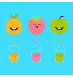 Fresh juice and glasses apple strawberry orange vector