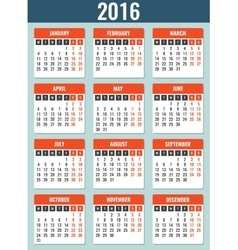 Calendar for 2016 week starts monday simple vector
