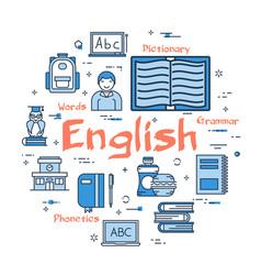 blue round english subject concept vector image