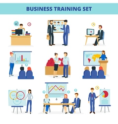 Business Training Workshops Flat Icons Set vector image