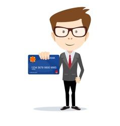 Businessman holding a bank card - vector