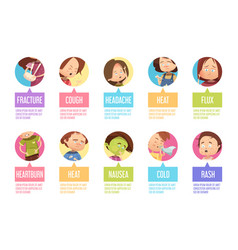 cartoon sickness child icon set vector image
