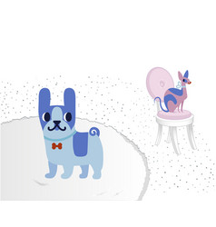 Cat and dog characters french bulldog and sphinx vector