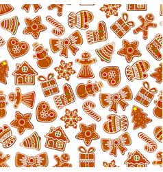 christmas holiday seamless cookie pattern vector image