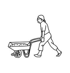 Construction worker pushing a wheelbarrow vector