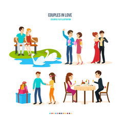 Couples spend their time in different settings vector