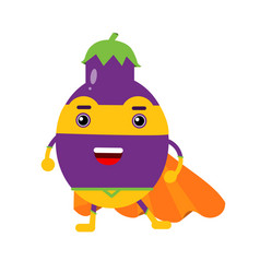 Cute cartoon smiling eggplant superhero in mask vector