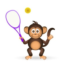 cute chimpanzee playing tennis sport little monkey vector image