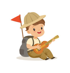 Cute little boy in scout costume playing guitar vector
