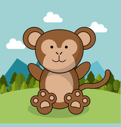 Cute monkey adorable landscape natural vector
