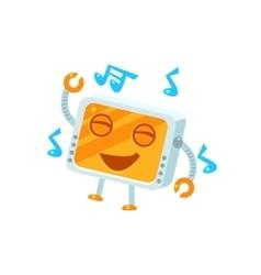 Dancing little robot character vector