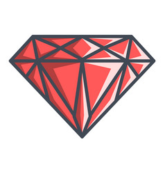 diamond in a flat style vector image vector image