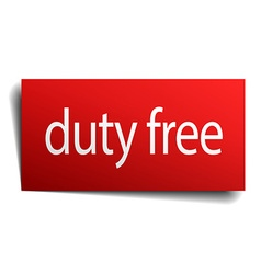 Duty free red square isolated paper sign on white vector
