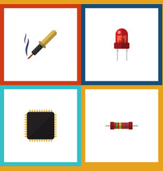 Flat icon device set of resistance cpu repair vector