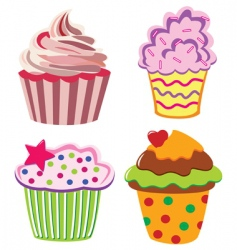 four cupcakes vector image vector image