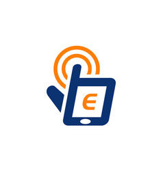 Hand phone solutions center initial e vector
