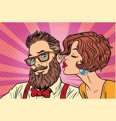 heterosexual couple beautiful woman kisses a vector image