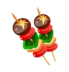 icon skewered food vector image vector image