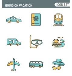 Icons line set premium quality of going vacation vector image