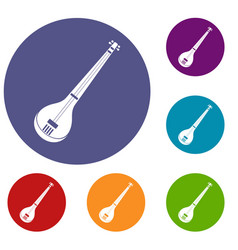 Indian guitar icons set vector