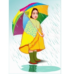 Little girl under umbrella vector