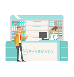 Man in tie and cardigan in pharmacy choosing and vector