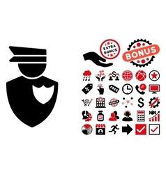 Policeman Flat Icon with Bonus vector image