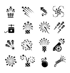 Pyrotechnic black icons vector