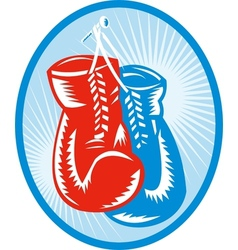 Red and blue boxing gloves vector