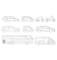 set of outline icons cars view to the side vector image vector image