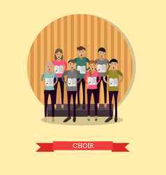 Singing choir in flat style vector