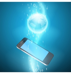 Stream of binary code with mobile phone vector
