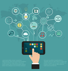 tablet internet network cloud of application vector image