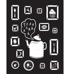 Teapot Drinking Tea and Cooking Art Frames on vector image vector image