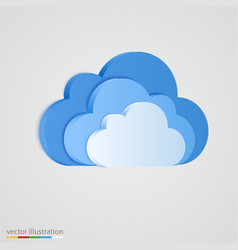 three layer of blue clouds vector image vector image
