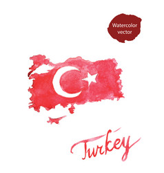 Watercolor red turkish flag and map vector