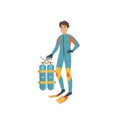 Tech diver with twin tank rebreather set vector
