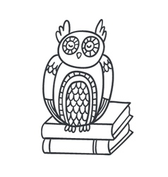 Postcard with adorable sleepy owl books and plan vector