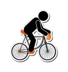 Person riding bike icon vector