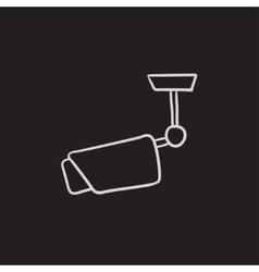 Outdoor surveillance camera sketch icon vector