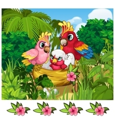 Two tropical parrots and their nestling in nature vector