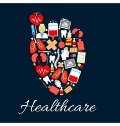 Heart medical poster with healthcare icons vector image
