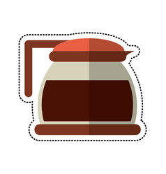 Cartoon glass pot with coffee image vector