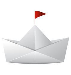 White paper boat with red flag vector