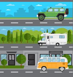Off road car camper van and retro bus on highway vector