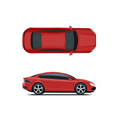 Red car view from above and from the side vector