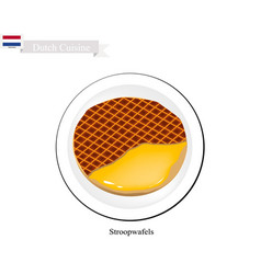 Stroopwafels or caramel waffle a famous dish of n vector