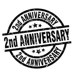 2nd anniversary round grunge black stamp vector image vector image