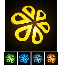 3d flower emblems vector