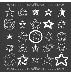 Set of doodle stars Hand drawn collection vector image
